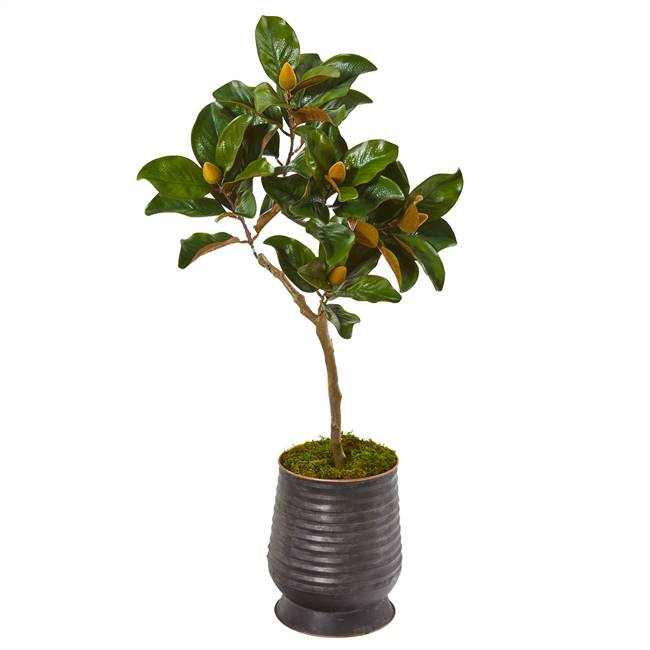 "46"" Magnolia Leaf Artificial Tree in Ribbed Metal Planter"