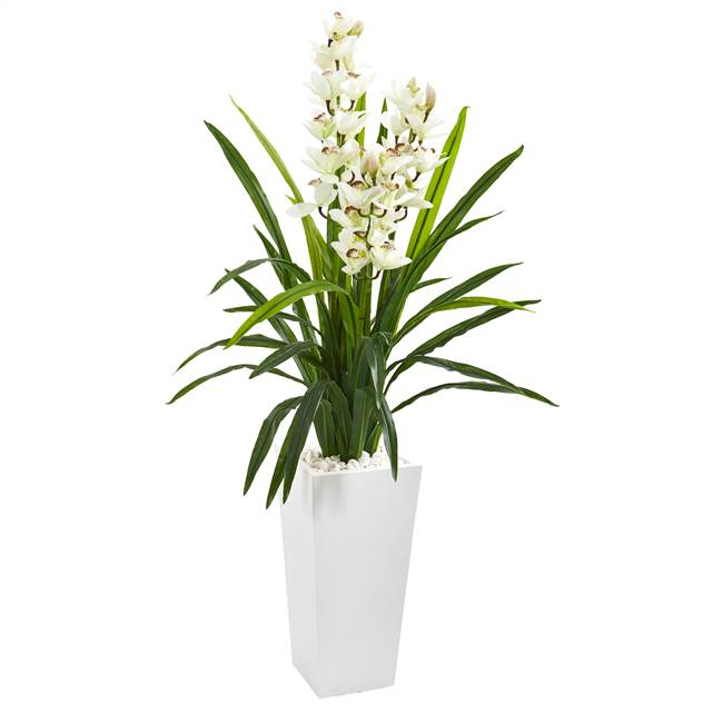 4.5' Cymbidium Orchid Artificial Plant in White Tower Planter