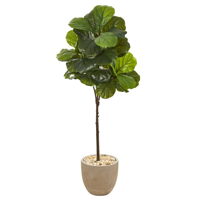 "51"" Fiddle Leaf Artificial Tree in Sandstone Planter (Real Touch)"