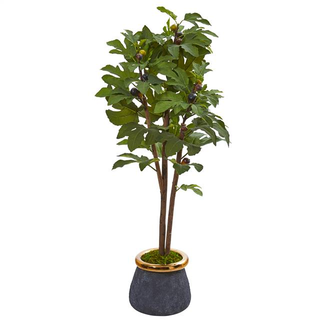 "46"" Fig Artificial Tree in Planter with Brass Trimming"