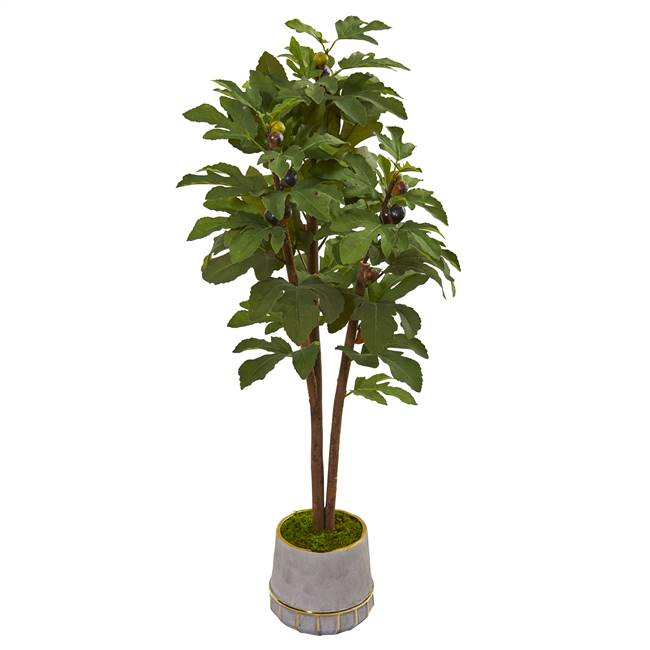"47"" Fig Artificial Tree in Stoneware Vase with Gold Trimming"