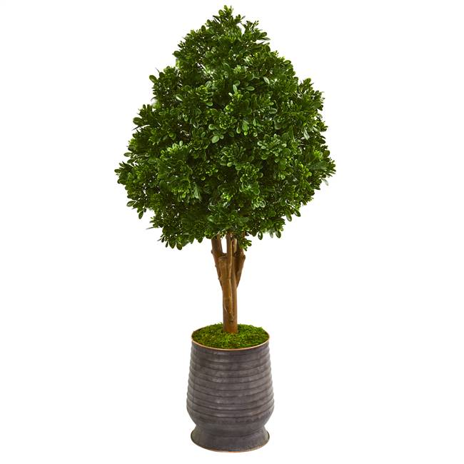 "49"" Tea Leaf Artificial Tree in Metal Planter UV Resistant (Indoor/Outdoor)"