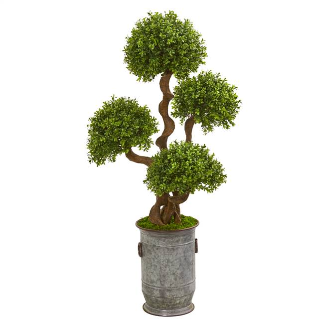 "50"" Triple Ball Boxwood Artificial Topiary Tree in Metal Planter"