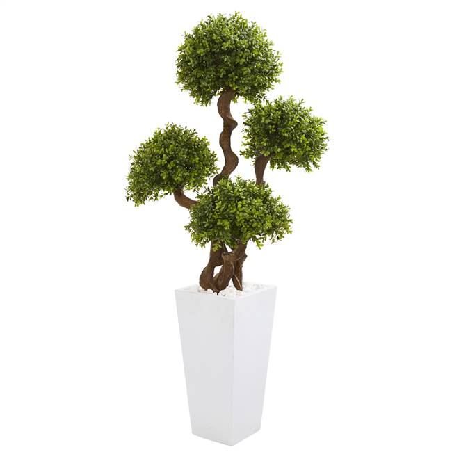 "55"" Four Ball Boxwood Artificial Topiary Tree in Tall White Planter"
