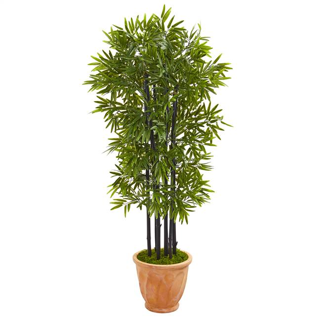 5' Bamboo Artificial Tree with Black Trunks in Terra-cotta Planter UV Resistant (Indoor/Outdoor)