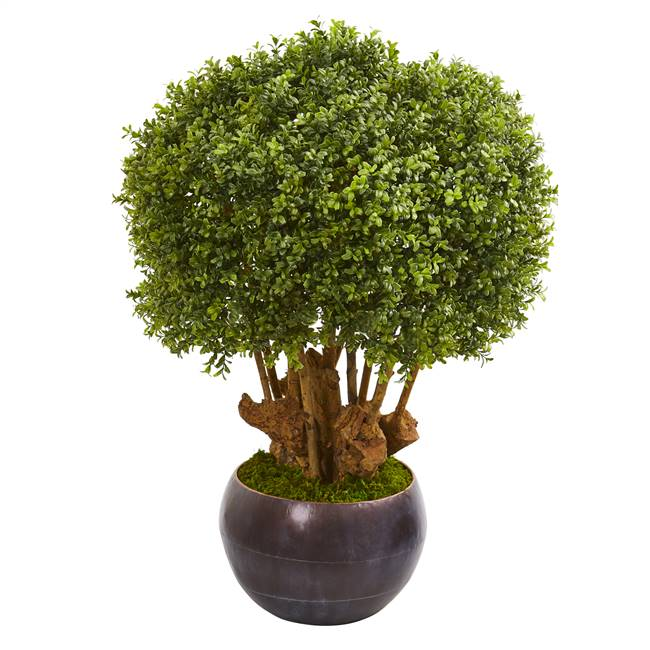 "38"" Boxwood Artificial Topiary Tree in Decorative Bowl (Indoor/Outdoor)"
