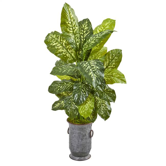 "49"" Dieffenbachia Artificial Plant in Vintage Metal Planter (Real Touch)"