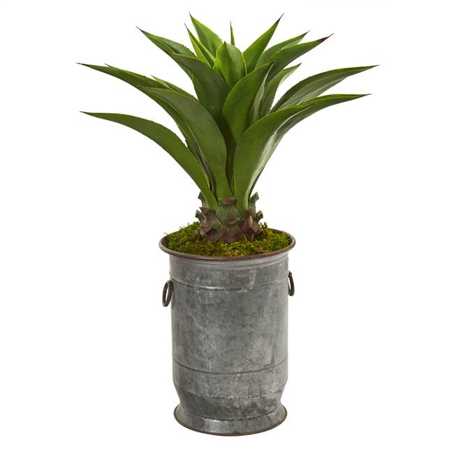 "39"" Agave Artificial Plant in Metal Planter"