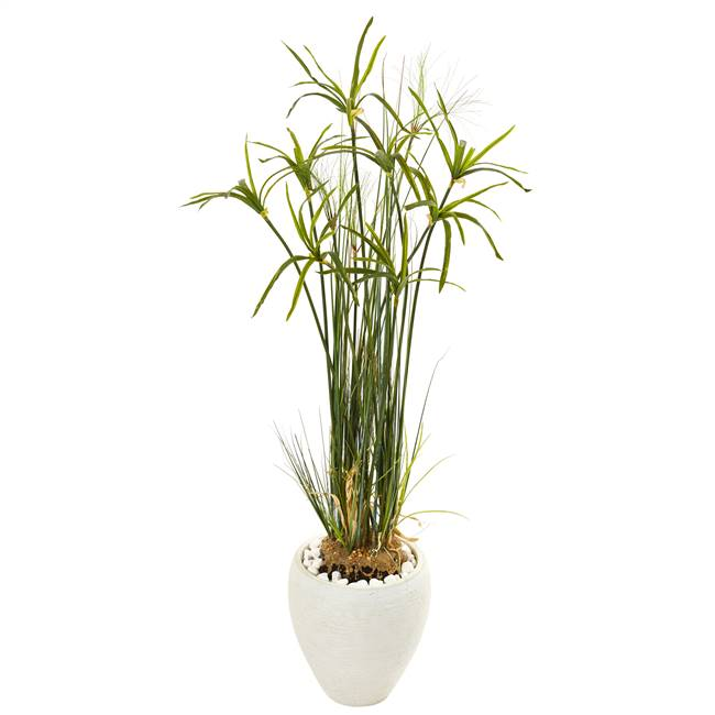 "47"" Papyrus Artificial Plant in White Planter"