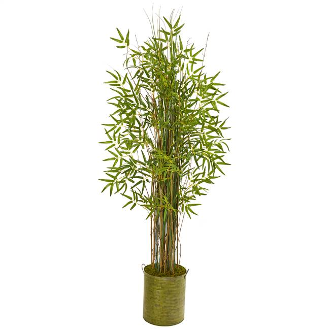 "53"" Bamboo Grass Artificial Plant in Green Metal Planter"
