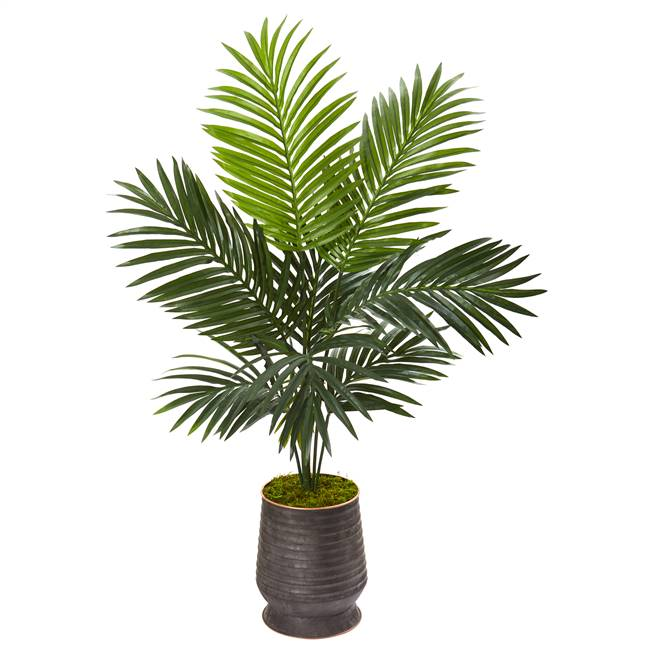 "46"" Kentia Artificial Palm Tree in Ribbed Metal Planter"