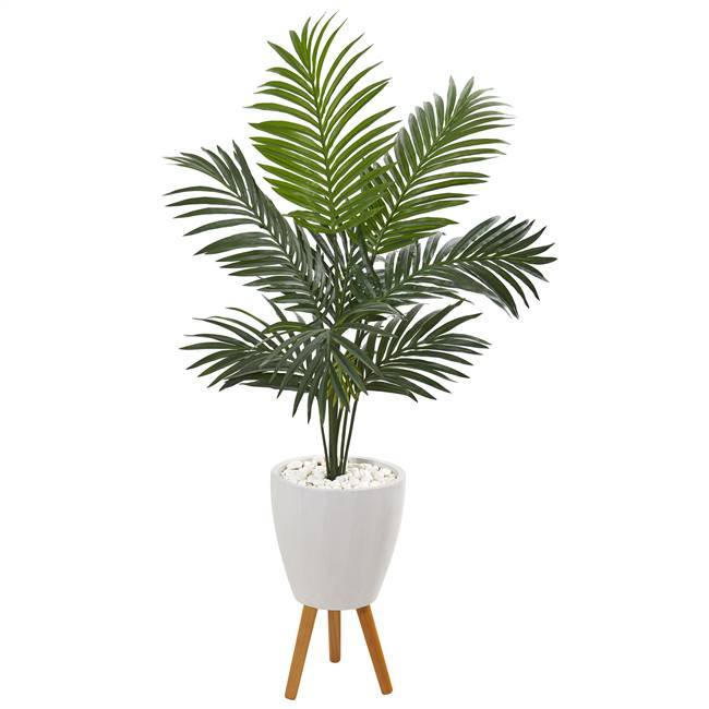 4.5' Kentia Artificial Palm Tree in White Planter with Legs