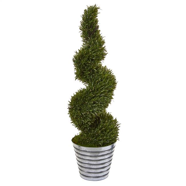 "53"" Rosemary Spiral Topiary Artificial Tree in Decorative Tin Bucket (Indoor/Outdoor)"