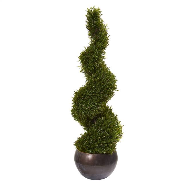 "49"" Rosemary Spiral Topiary Artificial Tree in Bowl (Indoor/Outdoor)"
