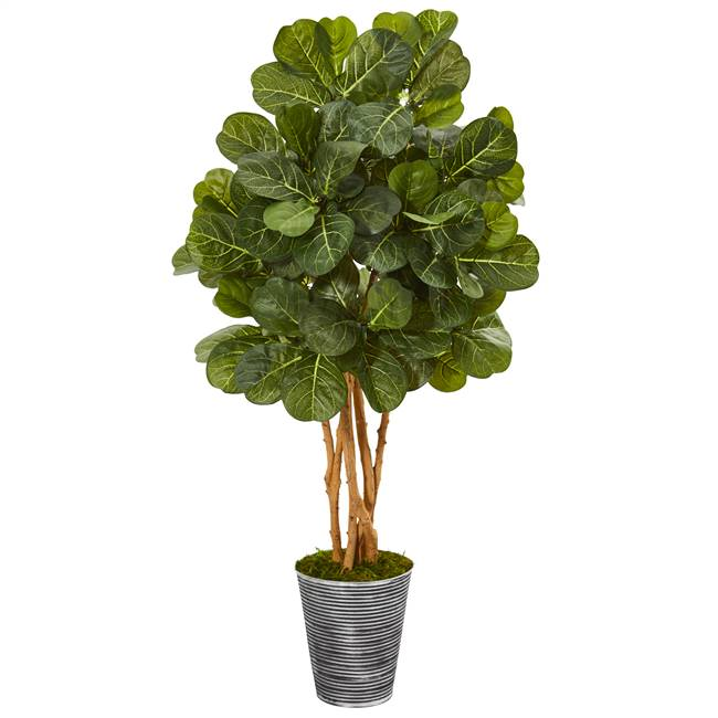 "55"" Fiddle Leaf Fig Artificial Tree in Decorative Tin Planter"