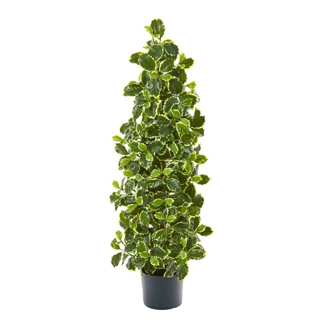 "39"" Variegated Holly Leaf Artificial Tree (Real Touch)"
