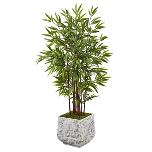 "55"" Bamboo Artificial Tree in White Planter"