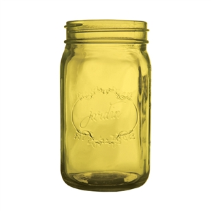 "Jardin Mason Jar, 32 Ounce, 6.5"" high, Vintage Amber, Case of 24"