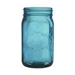 "Jardin Mason Jar, 32 Ounce, 6.5"" high, Vintage Blue, Case of 24"