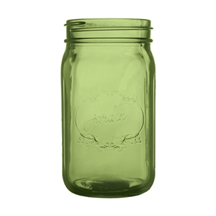 "Jardin Mason Jar, 32 Ounce, 6.5"" high, Vintage Green, Case of 24"