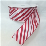 Ribbon #40 Wired Candy Cane Stripes Wired Edge 50Y
