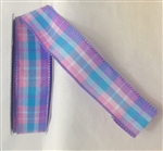 Ribbon #9 Plaid W/Junia Multi Bl/Pk/Prpl Wired 50Y