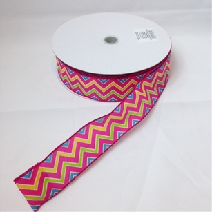 Ribbon #9 Wired Novato Hot Pink/Fuchsia Zigzag 50Y