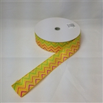 Ribbon #9 Wired Novato Yellow Zigzag 50Yd