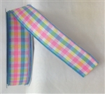 Ribbon #9 Plaid W/Corinne Pink/Blue Wired Edge 50Y