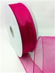 Ribbon #9 Sheer Spring Fuchsia Wired Edge 50Y