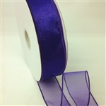 Ribbon #9 Sheer Spring Purple Wired Edge 50Y