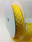 Ribbon #9 White Dots On Yellow Wired Edge 50Y