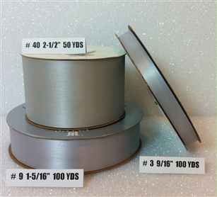 Ribbon #3 Satin Silver Gray 100 Yd Pk 1
