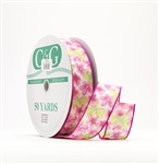 Ribbon #9 Floral Print Pink Wired Edge 50Yds