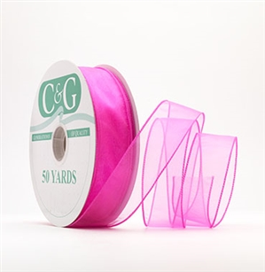 Ribbon #9 Sheer Spring Hot Pink Wired Edge 50Yd