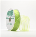 Ribbon #9 Sheer Spring Lime Wired Edge 50Yd