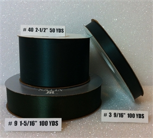 Ribbon #3 Satin Hunter Green 100Y Pk 1