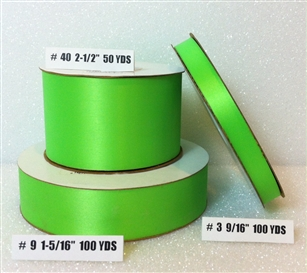 Ribbon #9 Satin Hot Lime 100 Yd Pk 1