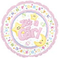 It's A Girl Moon & Stars Foil Balloon