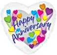 Happy Anniversary Shooting Hearts Foil Balloon
