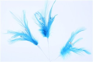 Flutterz Feather Pick with rhinestone - Turquoise (Pack of 3)