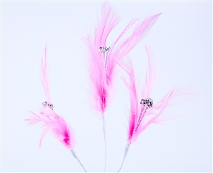 Flutterz Feather Pick with rhinestone - Pink (Pack of 3)