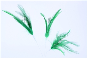 Flutterz Feather Pick with rhinestone - Green (Pack of 3)