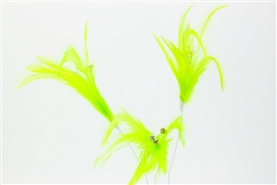 Flutterz Feather Pick with rhinestone - Lime Green (Pack of 3)