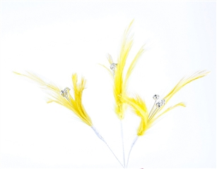 Flutterz Feather Pick with rhinestone - Yellow (Pack of 3)