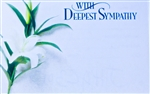 """With Deepest Sympathy"" Lily Enclosure Cards (pack of 50)"