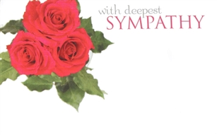 """With Deepest Sympathy"" Roses Enclosure Cards (pack of 50)"