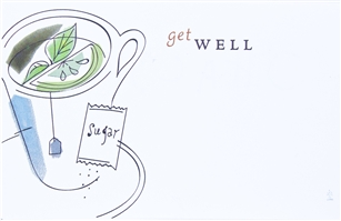 """Get Well"" Tea Cup, Sympathy Enclosure Cards (pack of 50)"