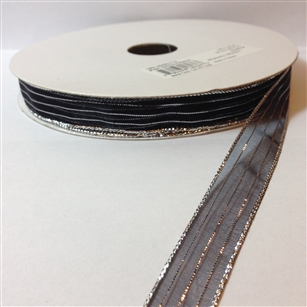 Ribbon #3 Sheer Black Silver Harmony 713 50 Yd