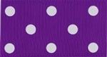 Ribbon #9 Grosgrain Purple With White Dots 20Yd
